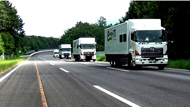 Self-driving trucks tested in Japan by NEDO.