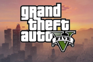 Grand Theft Auto V logo with background