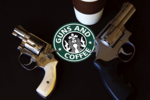 Guns & Coffee (FLICKR) http://www.flickr.com/photos/stickergiant/5450962483/sizes/z/in/photolist-9iFBeM-7UEr7o-exXRQJ-fqUN3Y/