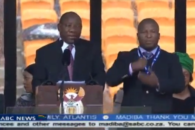 Sign language interpreter at Nelson Mandela's memorial was a fake