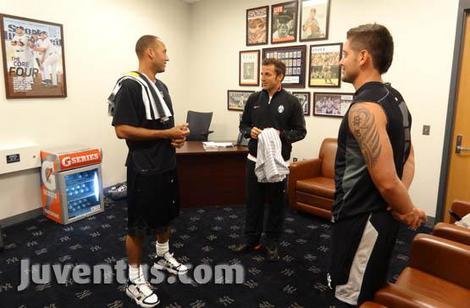 Jeter, Del Piero, and Cervelli.