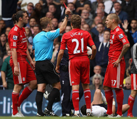 martin skrtel red card tottenham