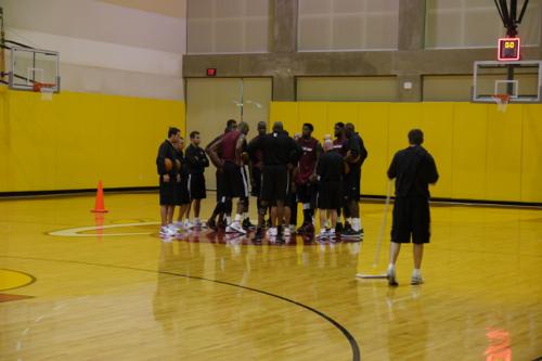 Heat training camp huddle