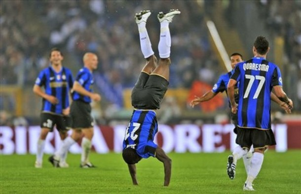 Obinna celebrates his goal against Roma