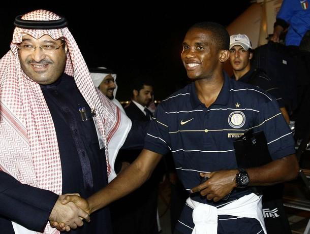 Eto'o and Saudi Prince Nawaf Bin Muhammad