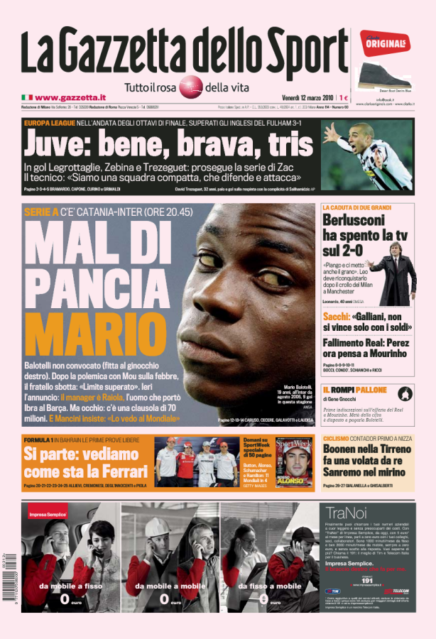 Front page of La Gazzetta, March 12, 2010