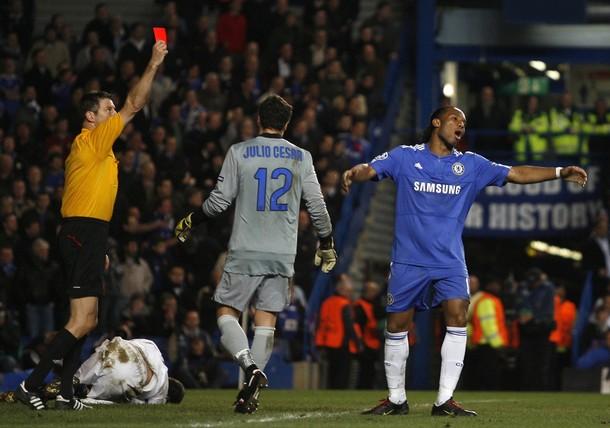 Drogba gets sent off