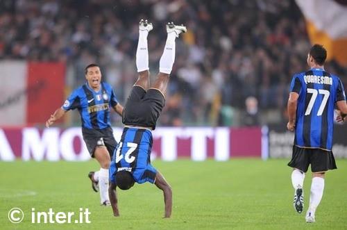 Obinna celebrates his goal against Roma in style