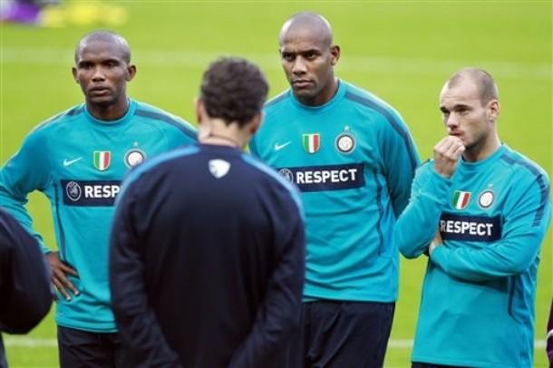 Pre-twente traning Eto'o, Maicon, Sneijder