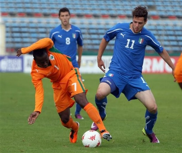 Mattia Destro against the Ivory Coast