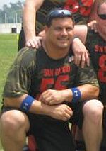 Jorge Lopez, with his San Diego flag football team at the 2006 Gay Games.