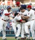 Chisenhall and teammates celebrate (Photo by David Maxwell/Getty Images)