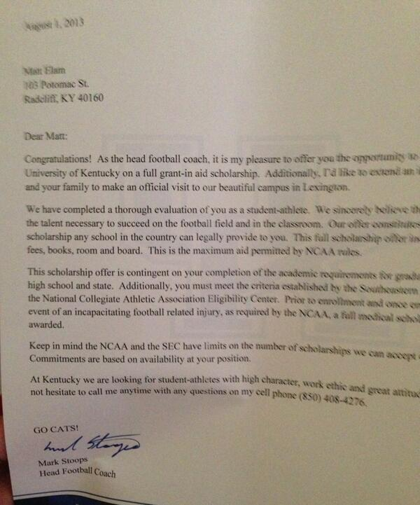 College Football Scholarship Letters