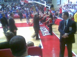 That's blurry old Lou Carnasecca, at Carnasecca Arena. I took the photo with Meacham Phone.