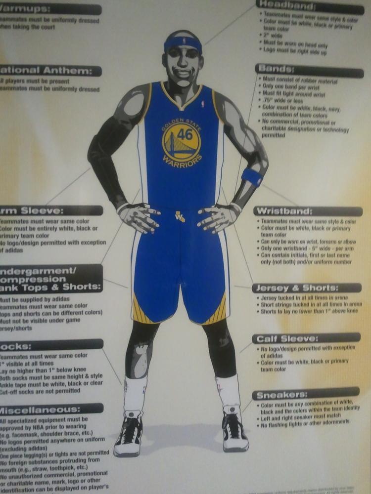 golden state warriors uniforms. NBA uniform guidelines (taken