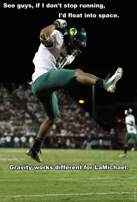 LaMichael James leaping
