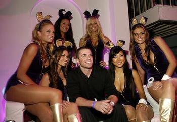 David Wright surrounded by Playboy bunnies