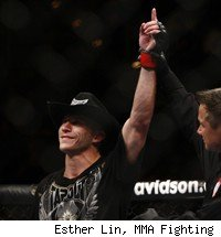 Donald Cerrone gets his hand raised after a win.