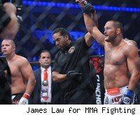 Dan Henderson's arm is raised after his win over Fedor Emelianenko.