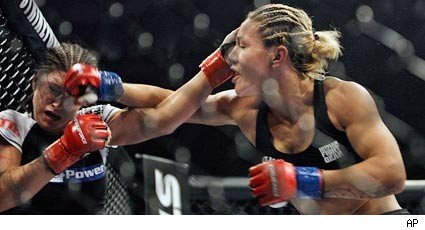 Gina Carano, left, and Cristiane Cyborg