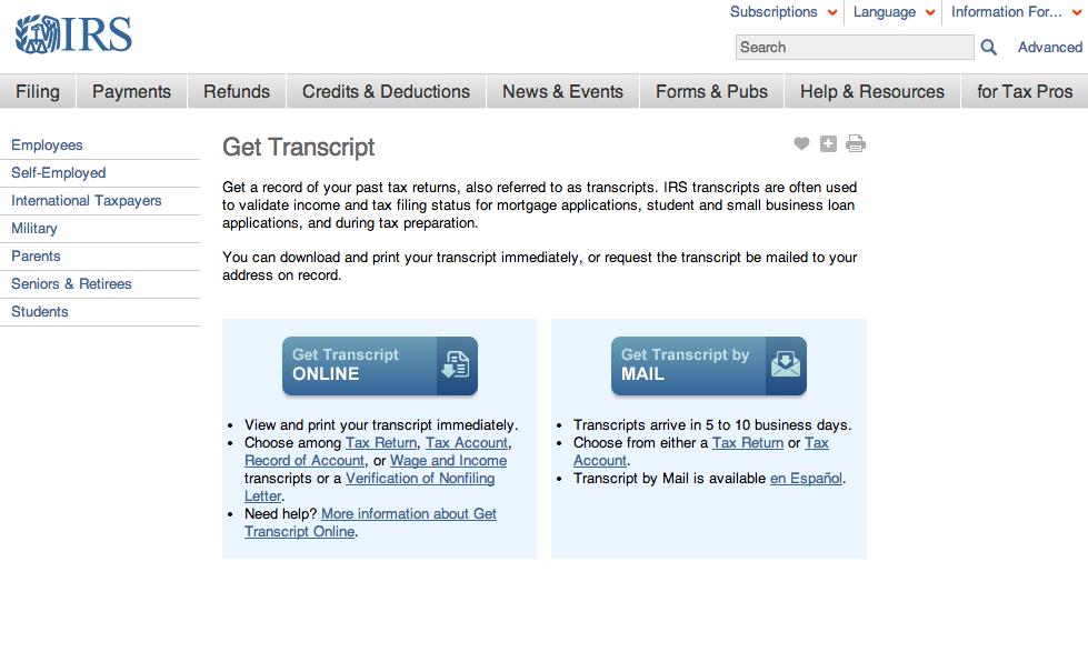 Download IRS Tax Return Transcript Online